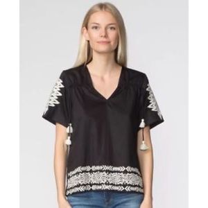 NWT Anthro Pepin Embroidered Tasseled Blouse